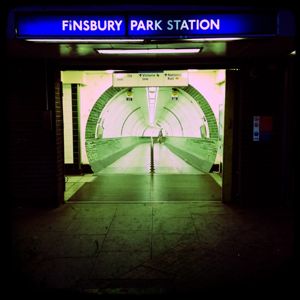 The Wells Terrace exit of Finsbury Park Tube Station in a rare lull