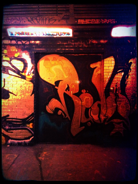 A graffiti covered doorway by the Old Vic Tunnels at Waterloo